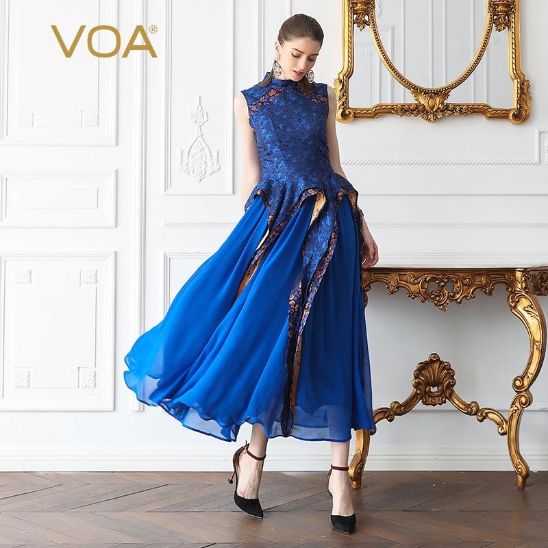 Longues Fête Maxi Tenue De Manches A570 Sans Slim Vintage Tunique Robes Soie Femmes Voa Georgette Plissée Piste Élégant Bleu Imprimer vIXnnU