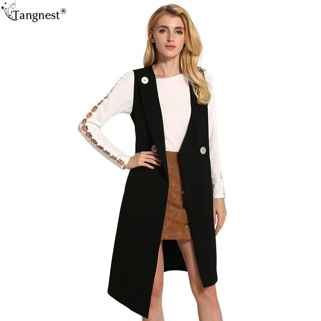 Tangnest otoño mujeres sólido tejido chaleco 2017 chaleco sin mangas de moda dobladillo irregular del todo-fósforo ocasional de la chaqueta larga capa wwv329