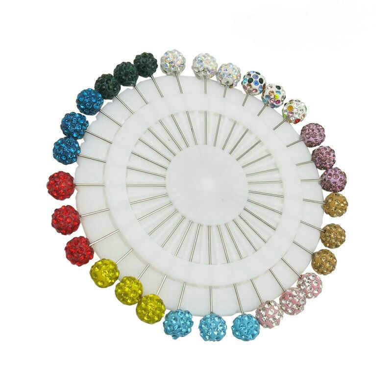 30 piece/ lot 2018 Fashion Mix Color Safety Scarf Hijab Pins Colorful Rhinestone Ball Muslim Brooch Pins Jewelry
