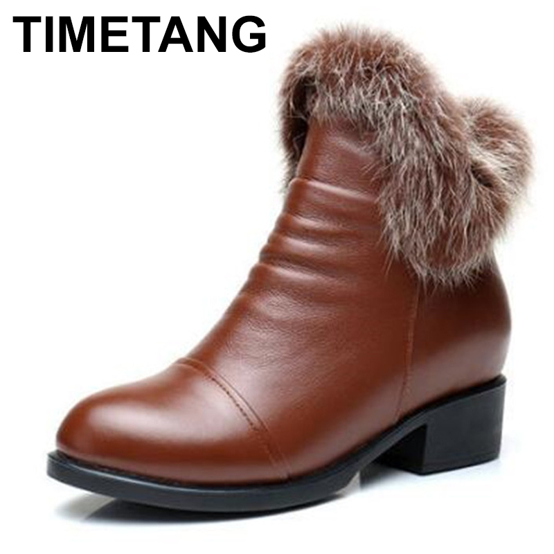 TIMETANG Brand Shoes Women Boots 2018 New Fashion Elegant Autumn Winter Boots Cowhide Leather Shoes Ankle