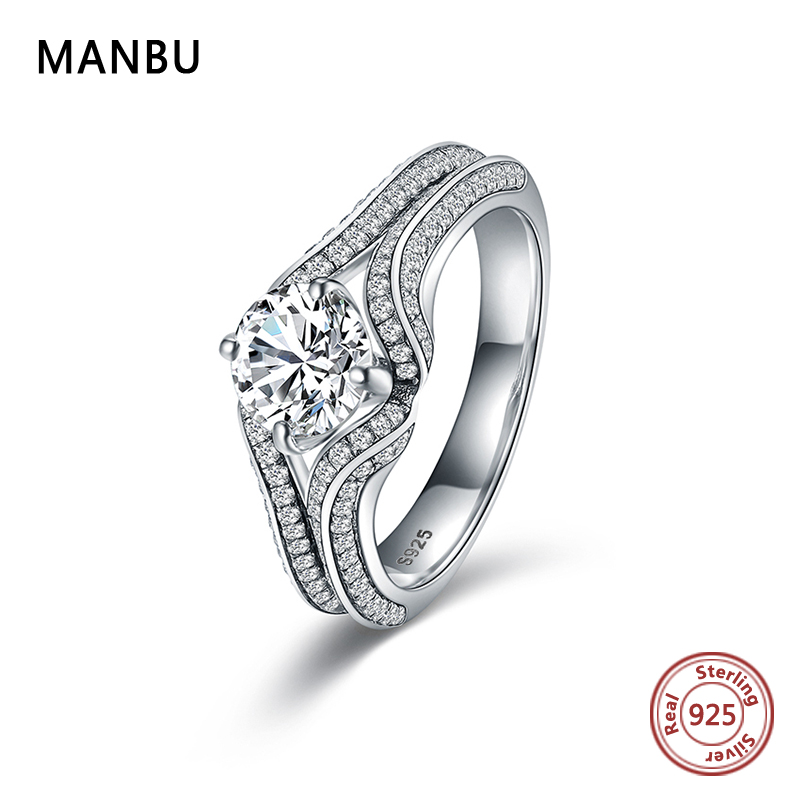 MANBU 2019 New Arrival Hot Sale Snow Crystal Wedding Rings pave setting CZ 925 sterling silver rings for women trendy jewelry in Wedding Bands from Jewelry Accessories
