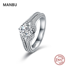 MANBU 2019 New Arrival Hot Sale Snow Crystal Wedding Rings pave setting CZ 925 sterling silver rings for women trendy jewelry
