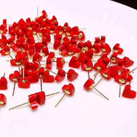 New Arrival Italy Design AU750 Gold Red Heart Stud Earrings