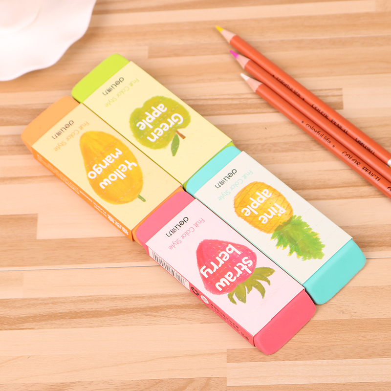 Super Big Size Soft Plastic Eraser For Students Fruit Color Pencil Ruber Eraser Safety No Smell 107x41x12.3mm Deli 71050
