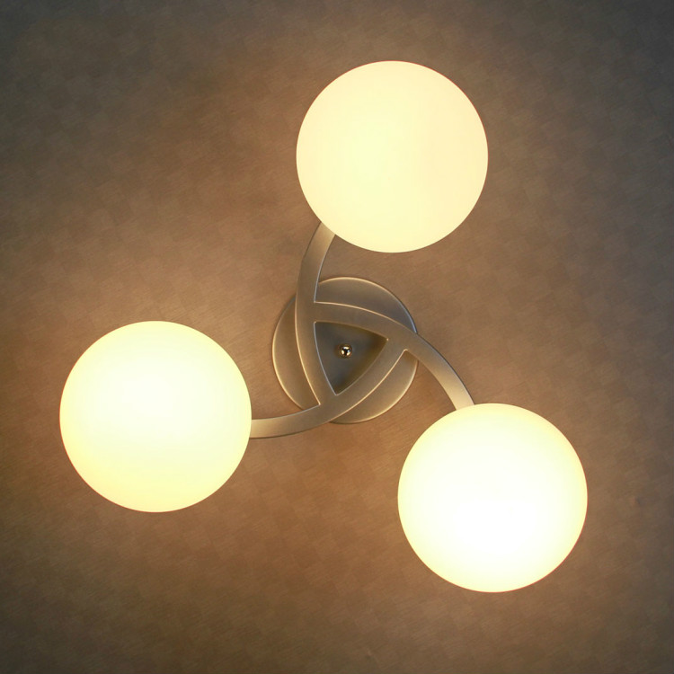 Circle bedroom lights wrought iron modern brief ceiling light glass led luminaire