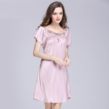 d6225461c8 2017 New Sweet Young Women Silk Nightgown Printed Fashion Knee-length Girl  Sleepwear Summer Ladies
