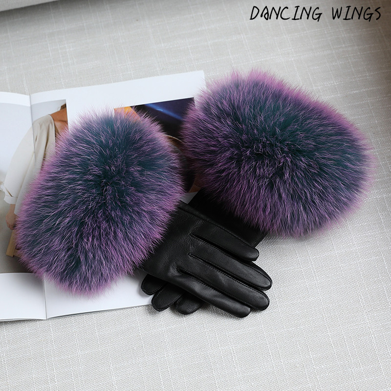 Winter Fashion Real Fox Fur Sheepskin Leather Gloves Warm Thickness Outdoor Guantes Women Mittens