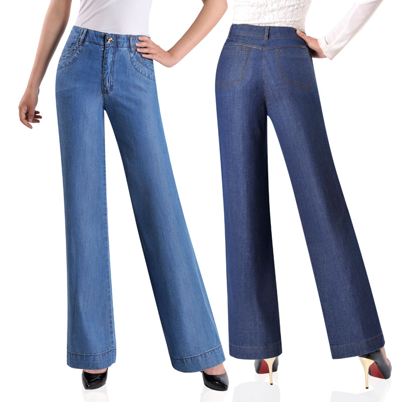 Women Summer Thin Tencel Jeans   Wide     Leg     Pants   Loose Thin High waist Straight   pants   Middle age Large yard Casual trousers