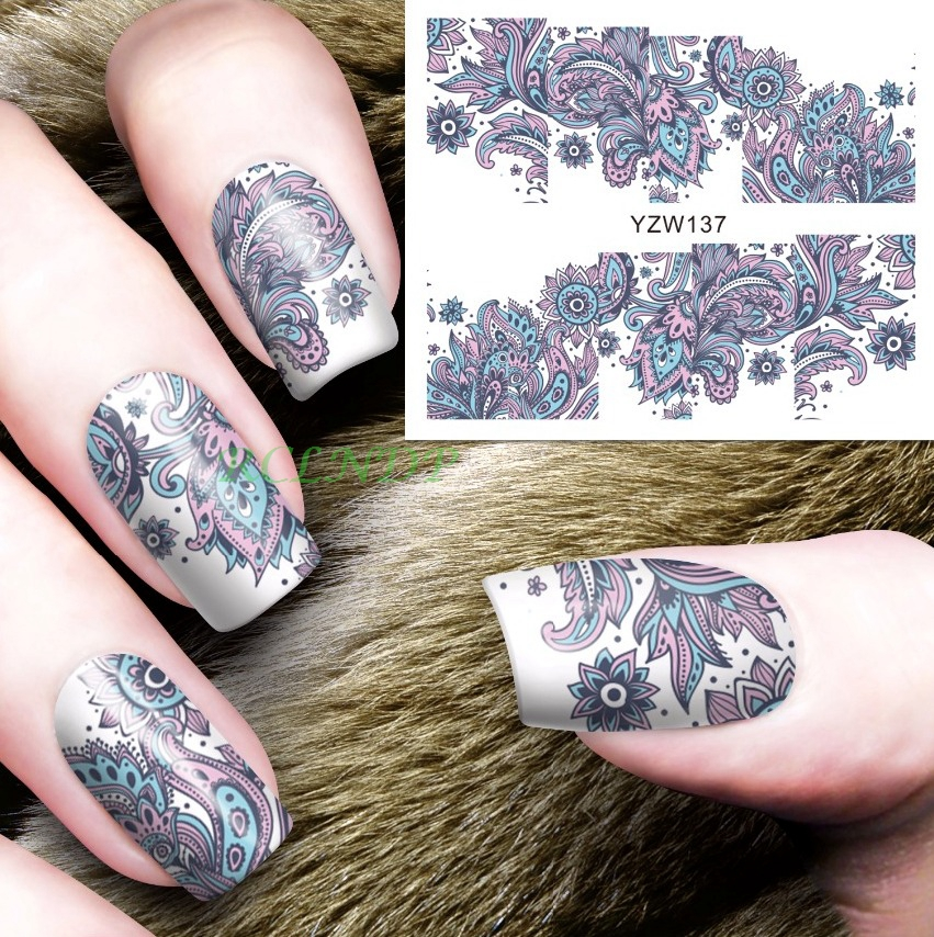 Water sticker for font b nails b font art all decorations sliders flowers lace Bohemia adhesive
