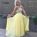 Elegante Amarillo Largo Vestidos de Baile 2017 Abendkleider Strapless Perlas Gasa Vestidos Más del Tamaño de Las Mujeres Formales de Noche Vestidos Del Partido