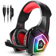 Hunterspider Stereo Gaming Headset Casque Surround Sound Over-Ear Headphones with Mic LED Light for PC PS4 Game Gamer sades a6 usb 7 1 surround sound stereo gaming headset headband over ear headphone with mic volume control led light for pc gamer