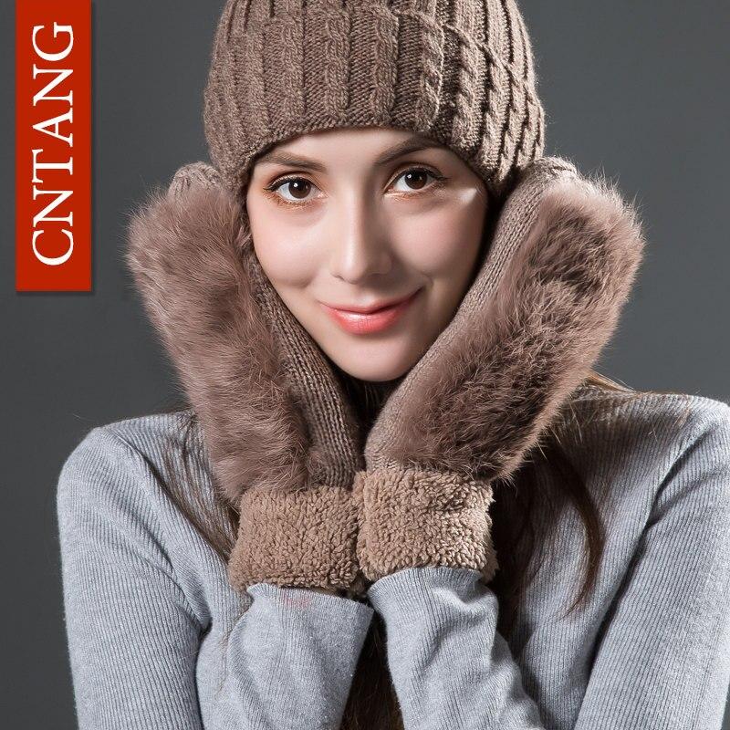 Women Cute Real Rabbit Fur Autumn Winter Warm Wool Mittens Fashion Velvet Gloves