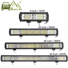 9″ 20″ 32″ Inch 3 Row LED Light Bar For Offroad 4×4 4WD Atv Uaz 4WD Suv Driving Motorcycle Light Truck Led Work Lights Auto Lamp