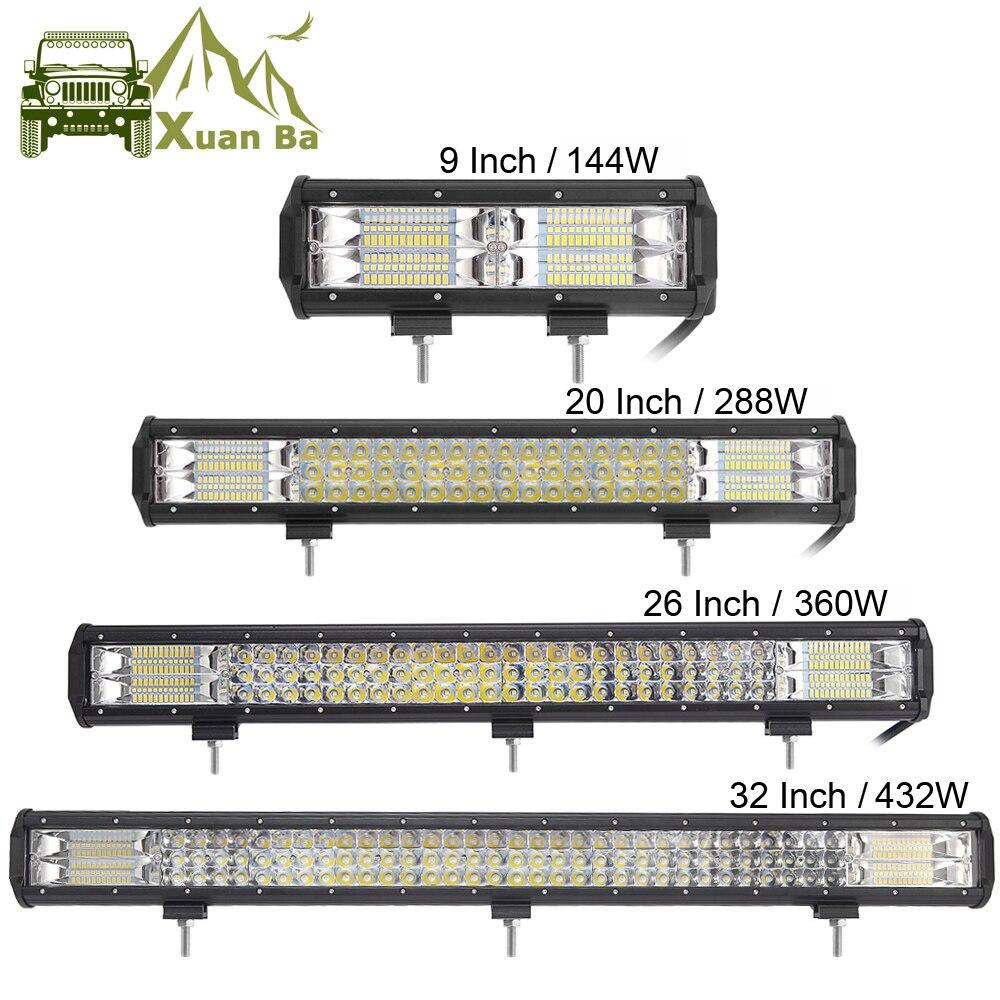 9 20 32 Polegada 3 4x4 4WD Row LED Light Bar Para Offroad Atv Uaz 4WD Suv Caminhão Leve Trabalho Levou Luzes de Condução Da Motocicleta Auto Lâmpada