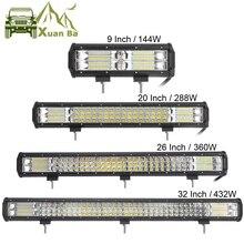 Barra de luces LED de 3 filas para todoterreno, 9, 20, 32 y 32 pulgadas, 4x4, 4WD, Atv, Uaz, 4WD, Suv, conducción, motocicleta, camión, Lámpara de trabajo