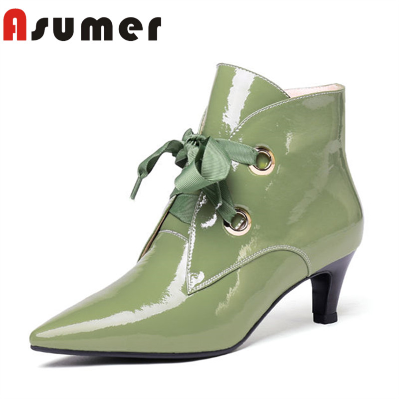 ASUMER HOT SALE 2018 cross tied ankle boots for women solid simple shallow boots pointed toe zip fashion genuine leather boots электробритва philips s3510