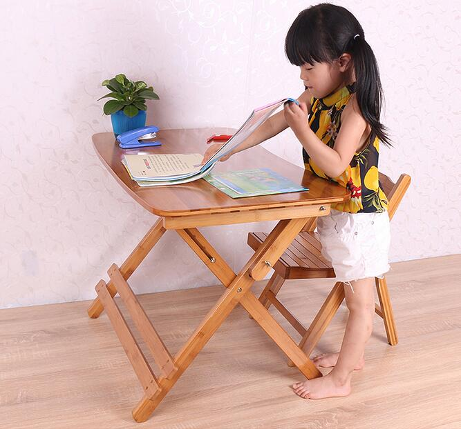 70*41CM Height-Adjustable Children Study Table Folding Bamboo Writing Desk Student Learning Table With Chair
