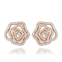GrayBirds High Quality Plant Flower Rose Stud Earrings Rhodium Plated With AAA CZ For Fashion Girls QTE046