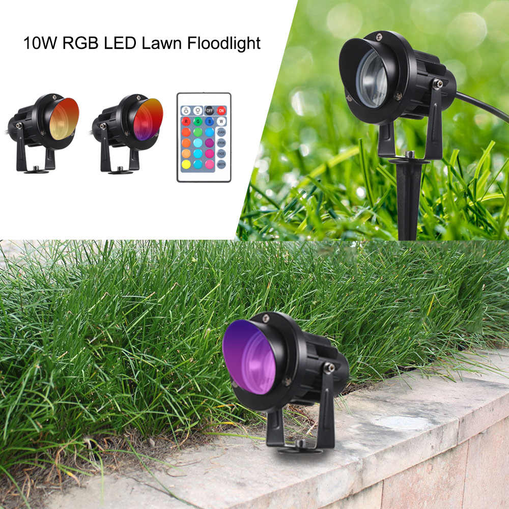 10W Garden Light RGB LED Spotlight with Remote Control Outdoor Landscape Lights Waterproof for Driveway Yard Lawn Patio Pool