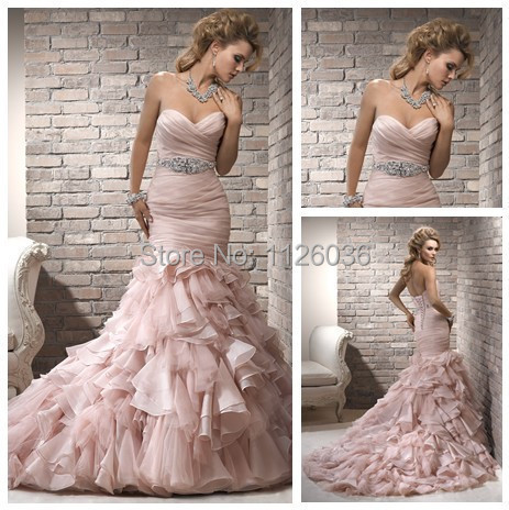 Stunning Pink Organza Silver Beading Ruffles Tiered Bottom Mermaid Wedding Dresses Sweetheart Off Shoulder Trumpet Bridal