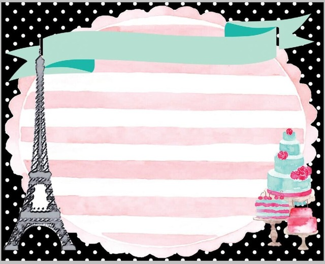 8x8FT Pink Stripes Paris Eiffel Tower Happy Birthday Cake Custom Photography Backdrop Studio Backgrounds Vinyl 240cm