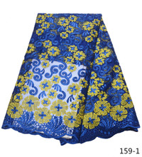 Blue Color Nigerian French Lace Fabrics 2017 African Tulle Lace Fabric High Quality African Lace Wedding Fabric For Dress 159 цена и фото