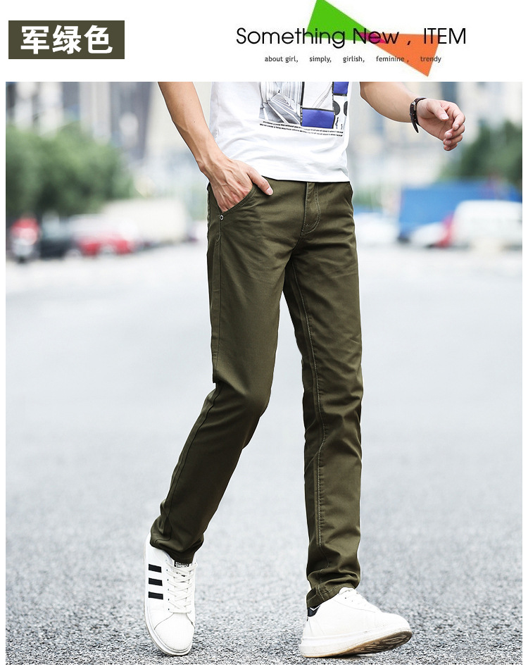 Business Casual Pants 11 Colors New Casual Pencil Pants Men Slim Pant Straight Trousers Solid Leisure Zipper Spring Summer k919 40