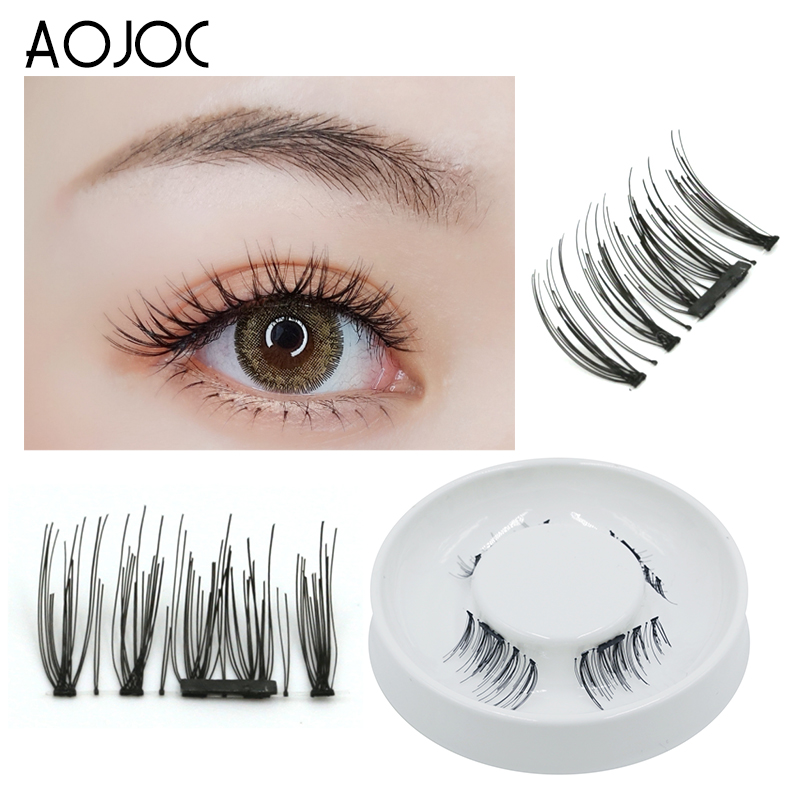 a7876901520 Aojoc 4pcs/2pair Magnetic Eyelashes 3D Handmade Mink Reusable Magnet False  Eyelashes Triple Natural Soft Hair Magnet Eye Lashes