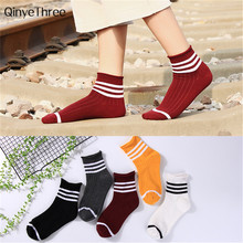 Women autumn winter warm soft three stripes piled socks loose mouth curled tube socks girls korean style sweety sox Drop ship(China)