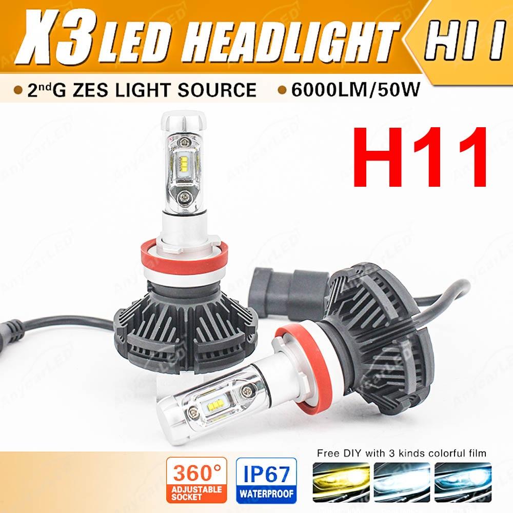 1 Set 50W 6000LM X3 LED Headlight H1 H4 H7 H8 H9 H11 9005 9006 9012