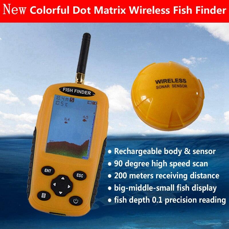 Smart Portable Profondeur Fish Finder avec 200 m Sans Fil Sonar Capteur Sondeur Sondeur pour Lac Mer De Pêche Finder