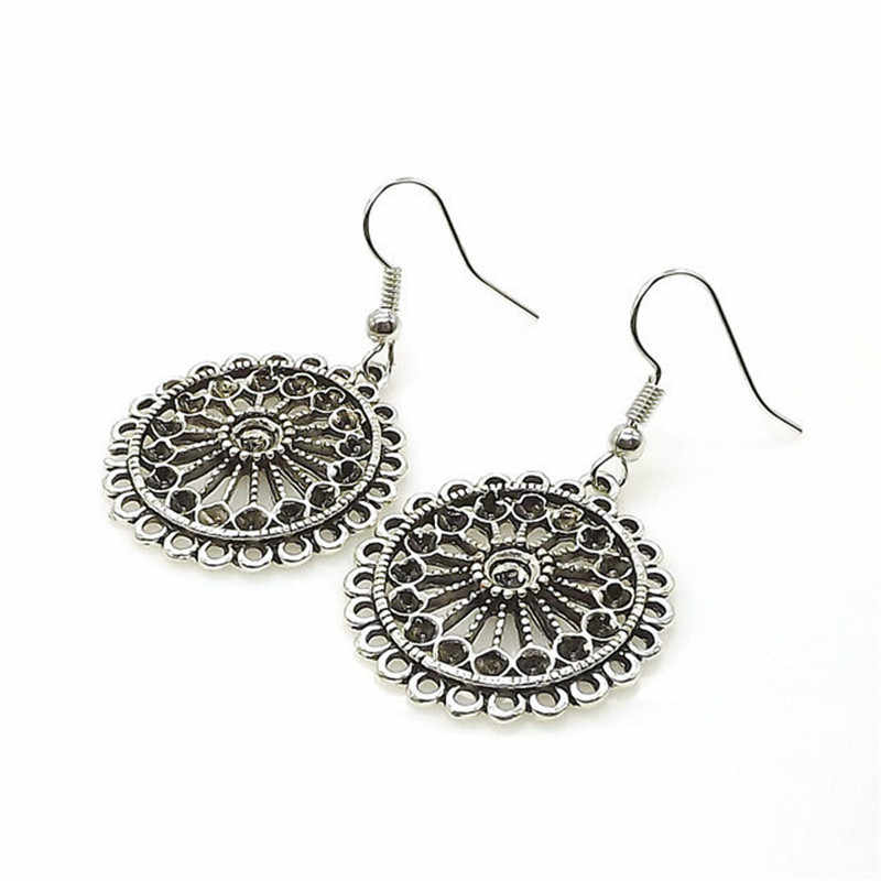 Ahmed Vintage Antique Hollow Flower Tibetan Silver Drop Earrings for Women New Ethnic Alloy Dangle Earring Dropshipping