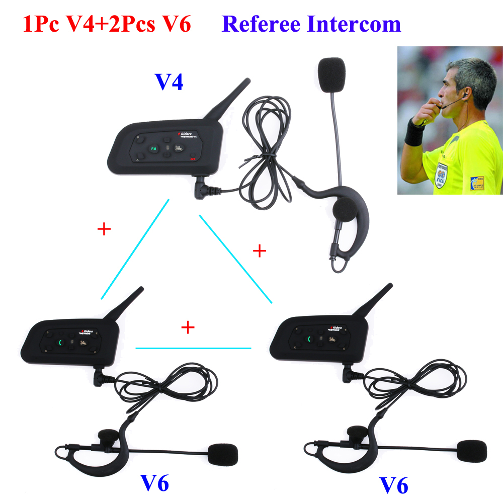 3 Pcs/ensemble 1200 M Interphone Full Duplex Deux-chemin de Football Entraîneur Judger Coude Écouteurs Arbitre Communication Système Interphone