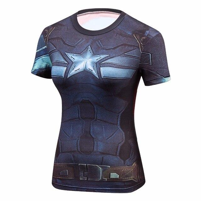 גבירותיי קומיקס מארוול סופרמן קפטן אמריקה באטמן/וונדר הדחיסה של הנשים חולצות לא חולצה דחיסת כושר נשי הדוק