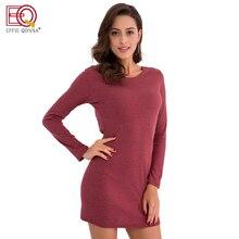 Для женщин трикотажные Платья-свитеры осень-зима с длинным рукавом Сексуальная О Средства ухода за кожей шеи платье с открытой спиной теплый Bodycon платье Повседневное красный
