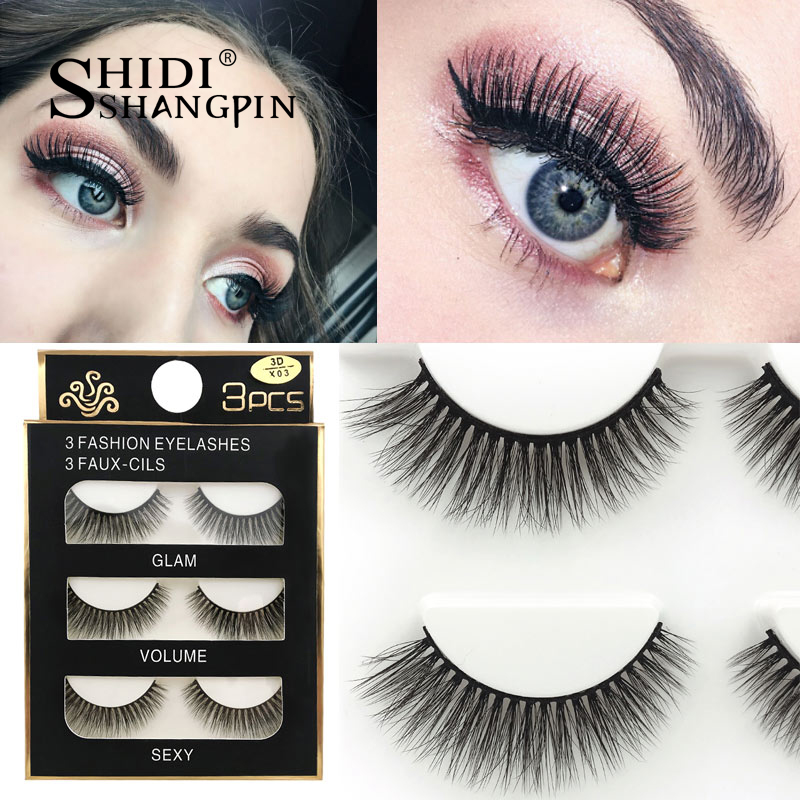 HTB1HqQyXLvsK1Rjy0Fiq6zwtXXac SHIDISHANGPIN 3 pairs mink eyelashes natural fake eye lashes make up handmade 3d mink lashes false lash volume eyelash extension