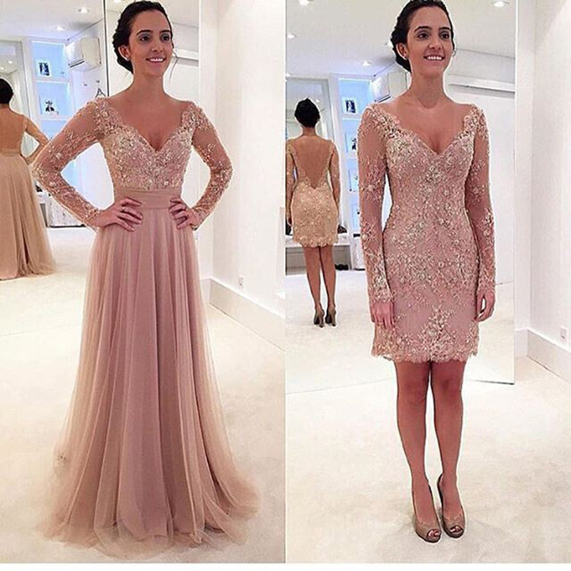Pink Long Sleeve Lace And Tulle Detachable   Prom     Dresses   2 Piece Fashion 2019 Formal Women Evening Party   Dress   Two Pieces Long