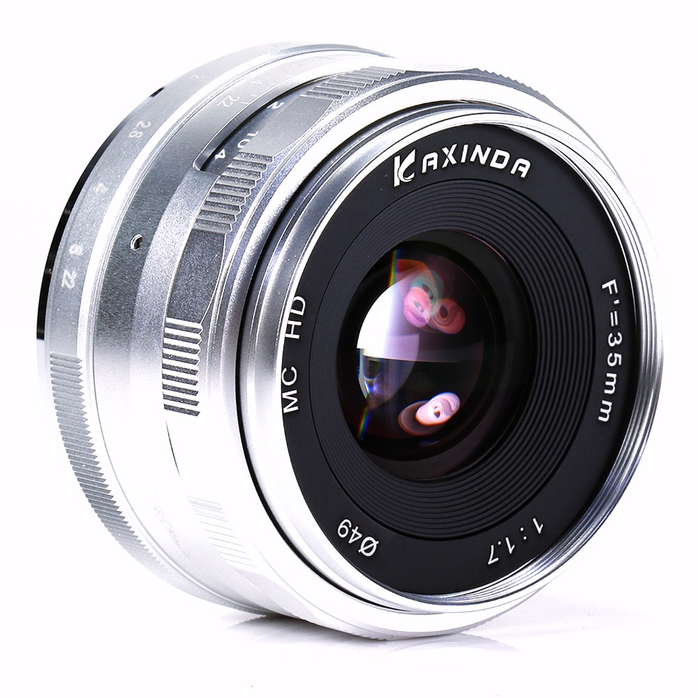 new Kaxinda 35mm f 1.7 Large Aperture Manual Focus camera lens For nikon 1 N1 mount Mirrorless J1 J2 Silver new and original for niko 35mm f 1 4g 35mm name plate jaa13451 1310