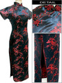 New Arrival Black-Red Chinese Women's Satin Long Cheongsam Qipao Dress Flower Plus Size S M L XL XXL XXXL 4XL 5XL 6XL J3082