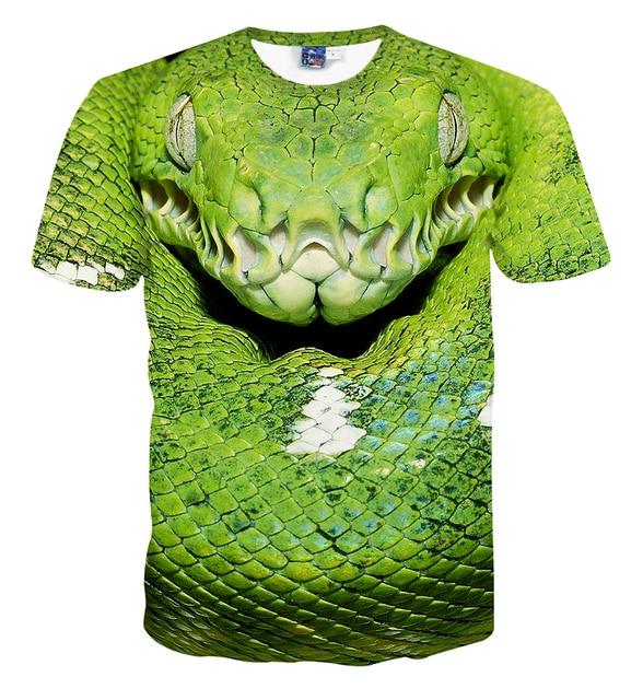 180d111227d7 Green snake print t shirt 3d print short sleeve t shirt men and women s  summer t shirt free shipping