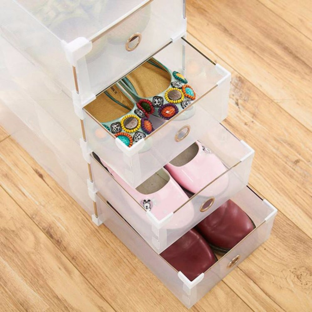 24pcs Foldable Plastic Shoe Boxes Universal Home Organizer Stackable Storage Drawer Transparent Home Holding Box drawer