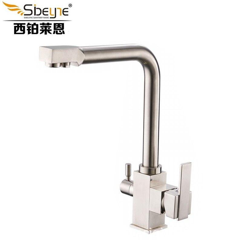Robinet d'évier de cuisine en laiton à Double poignée pour Bar à eau purifiée à chaud et à froid ITAS FS0004