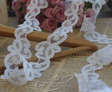 5 см в ширину (5yds/много) Вышитые Тюль Кружевной отделкой сетки кружевной отделкой ~ свадебное платье ~ Белый ~ красивая ~