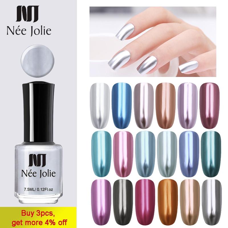 NEE JOLIE 3.5ml Silver Mirror Nail Polish Rose Gold Transparent Color 7.5ml Long-Lasting Nail Lacquer Fast Dry Nail Polish