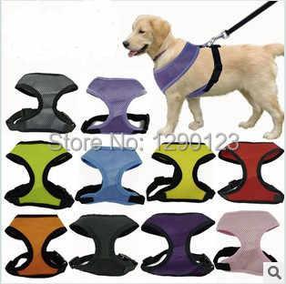 1 قطعة قابل للتعديل لينة تنفس الكلب تسخير النايلون شبكة سترة تسخير للكلاب جرو طوق القط كلب شريط للصدر المقود