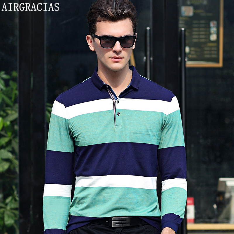 AIRGRACIAS   Polo   Men 2017 Autumn Brand Clothing Cotton Long Sleeve   Polo   Top Bottom Turn Down Collar Tops Striped   Polo   Shirts