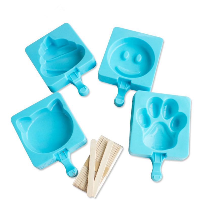 4pcs/set DIY Creative Homemade Ice Cream Popsicle Mold, Food-grade Silicone Ice Cream Cake Mold Send Popsicle Sticks