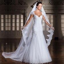 Elegant Women White/Ivory 3M Cathedral Length Lace Edge Bridal Head Veil With Comb Long Wedding Accessories velos de novia