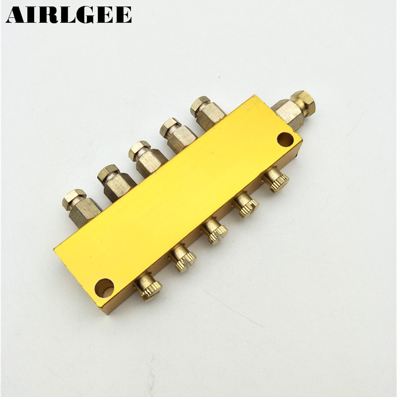 Air Pneumatic Brass Adjustable 5 Ways 1-inlet 5-Outlet Oil Distributor Regulating Manifold Free shippingAir Pneumatic Brass Adjustable 5 Ways 1-inlet 5-Outlet Oil Distributor Regulating Manifold Free shipping