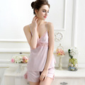 Summer Women Sexy Sleepwear Set Top+Shorts Temptation Silk Sexy Nightwear Sets Spaghetti Strap Sleepwear Pajama Set High Quality